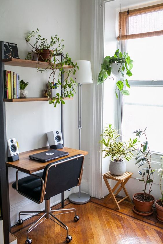 small workspace with plants How To Bring Your Small Space Alive This Spring