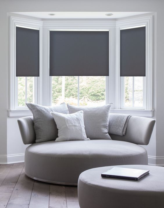 grey roller shades Types of Blinds You Can Easily Install