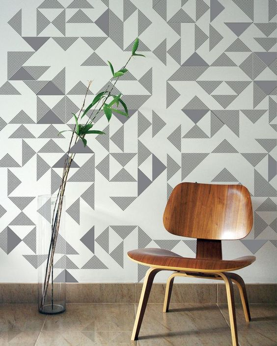 great grey and white geometric wallpaper How to Find the Best Soundproof Wallpaper for your Home