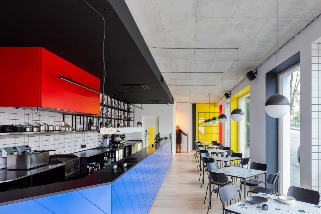 %name Bauhaus and Piet Mondrian inspired restaurant interior in Vilnius