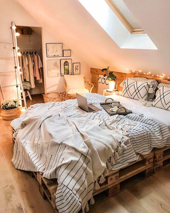 attic bedroom and pallet bed  50+ Aesthetic Bedrooms And 9 Tips On How To Decorate Yours