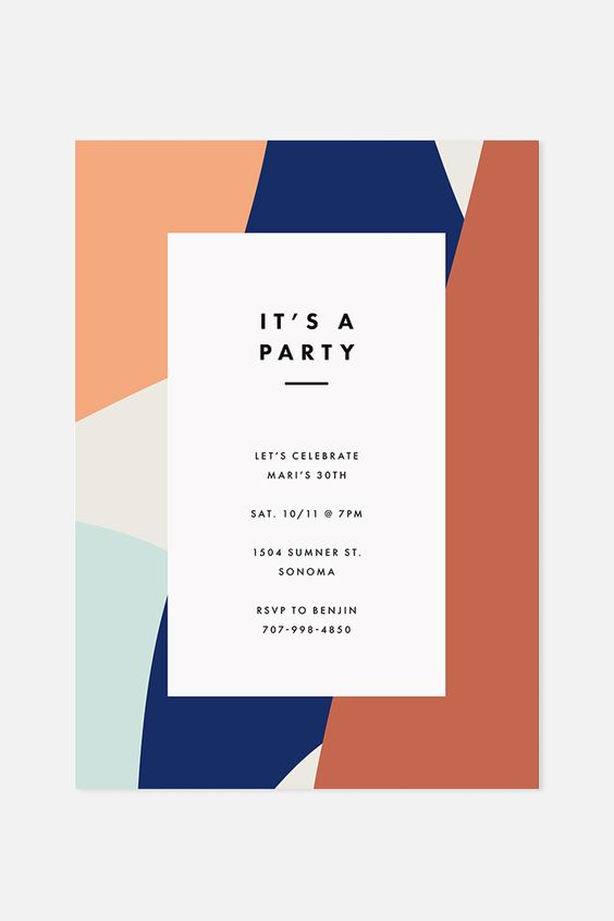 geometric party invitation card Tips for Choosing The Perfect Invite for Your House Warming Party