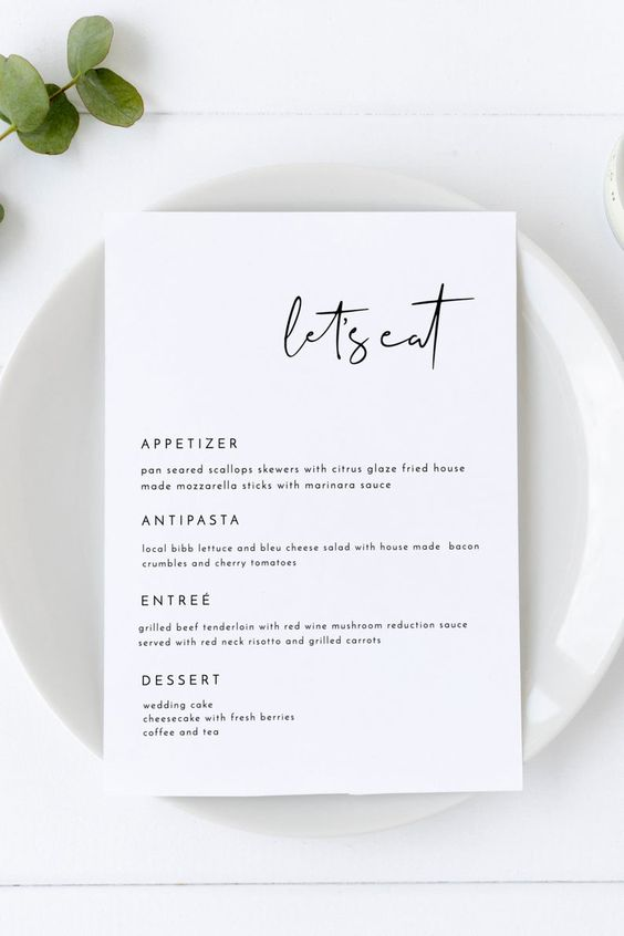 minimalist menu template Tips for Choosing The Perfect Invite for Your House Warming Party