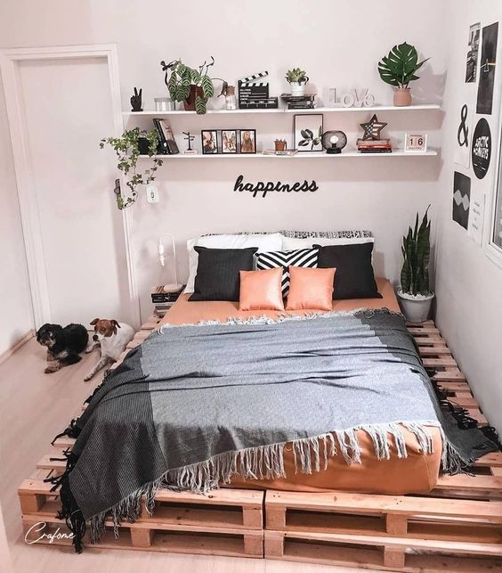 pallet bed 50+ Aesthetic Bedrooms And 9 Tips On How To Decorate Yours