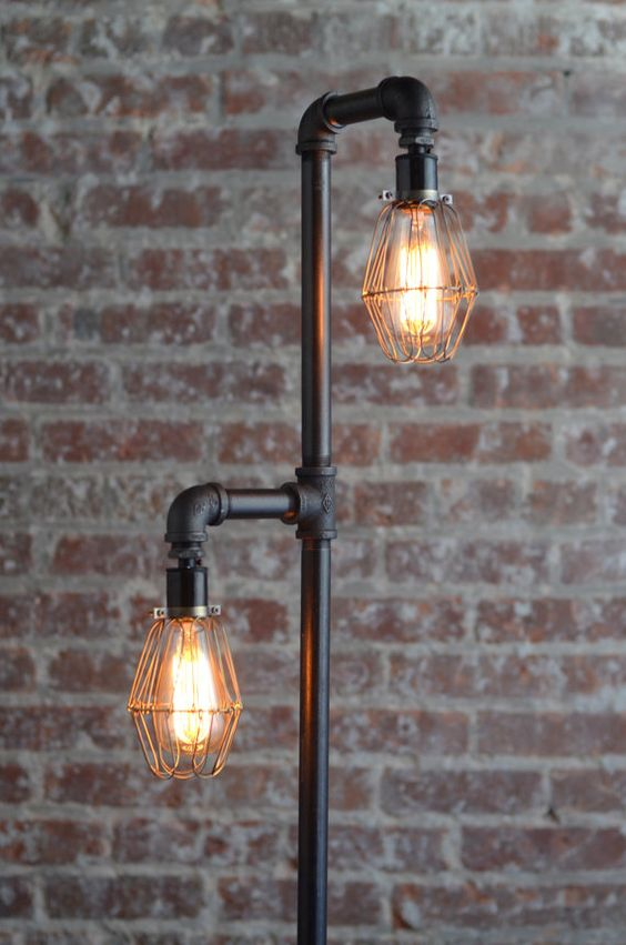 repurposed pipe industrial style floor lamp How Reclaimed Materials Are Making Industrial Design More Accessible