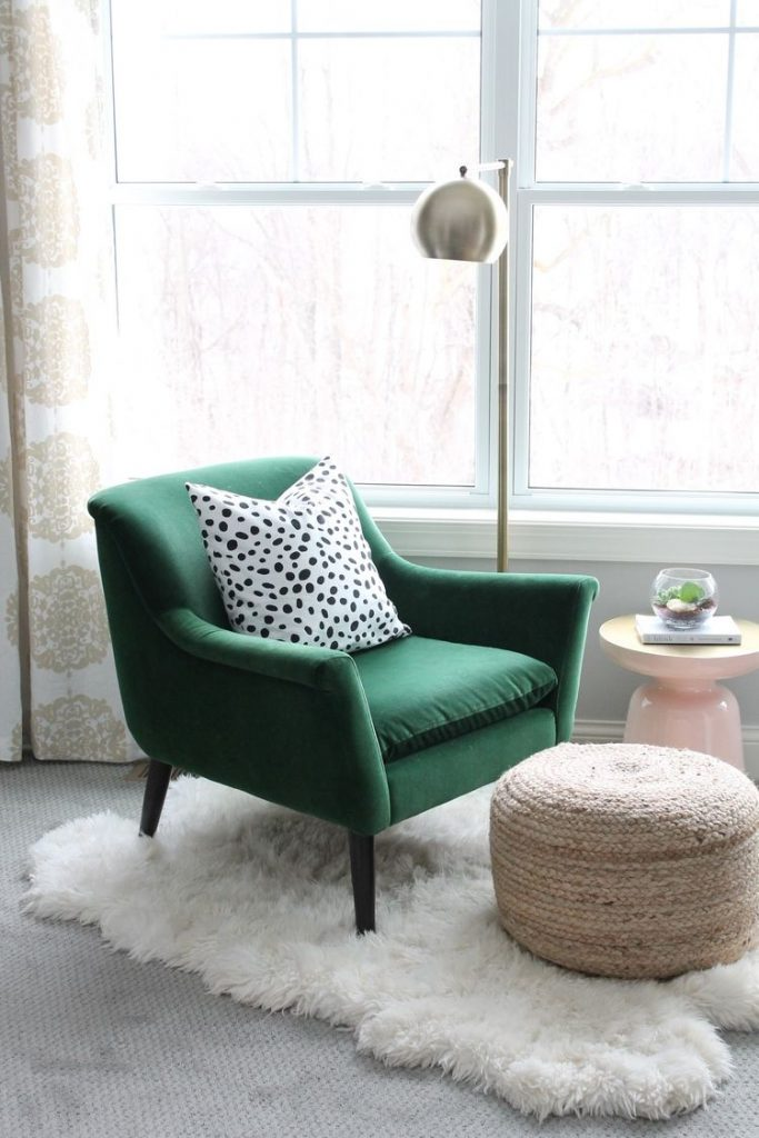 green armchair in a bedroom 683x1024 How to Turn Your Bedroom into A Safe Haven