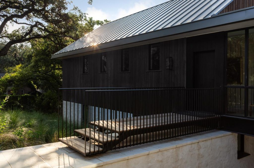 %name Douglas fir clad volumes in Belmont Park by Tim Cuppett Architects