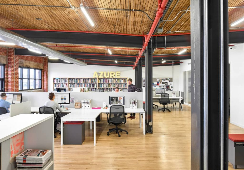 open concept office space 1024x714 An Old Transformer Factory Was Converted into a Bright Office