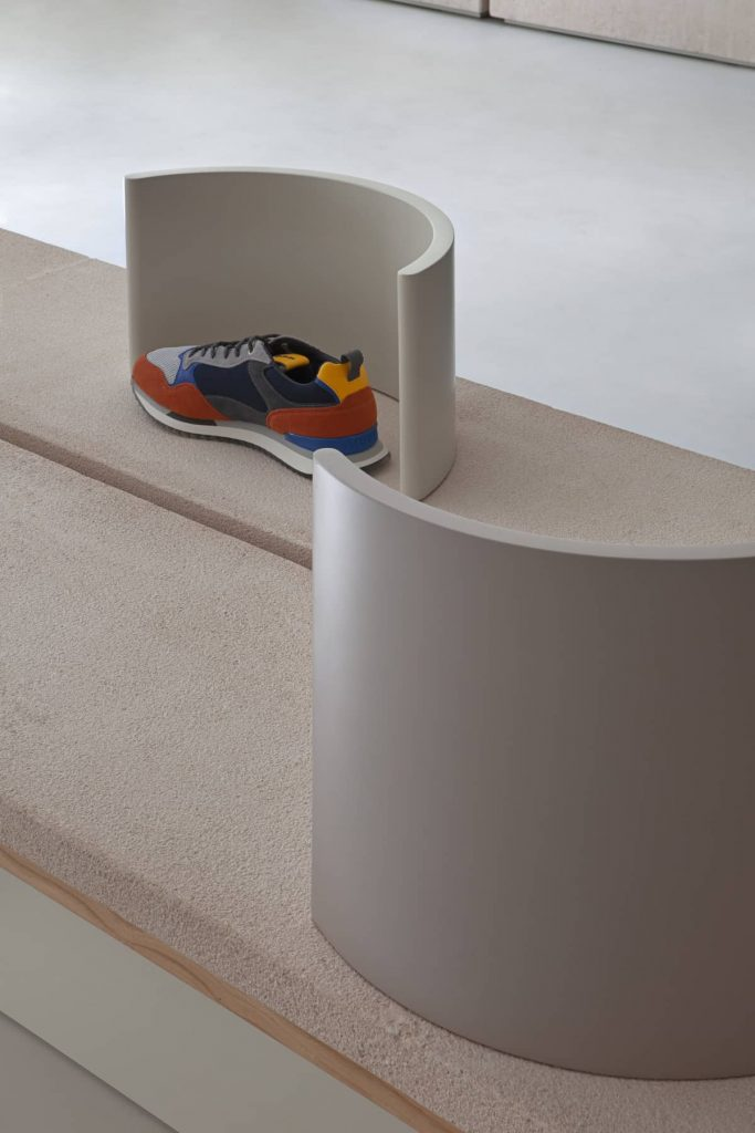 sepulveda stone tables 683x1024 Retail Design Concept Unveiled In a New Sneaker Store