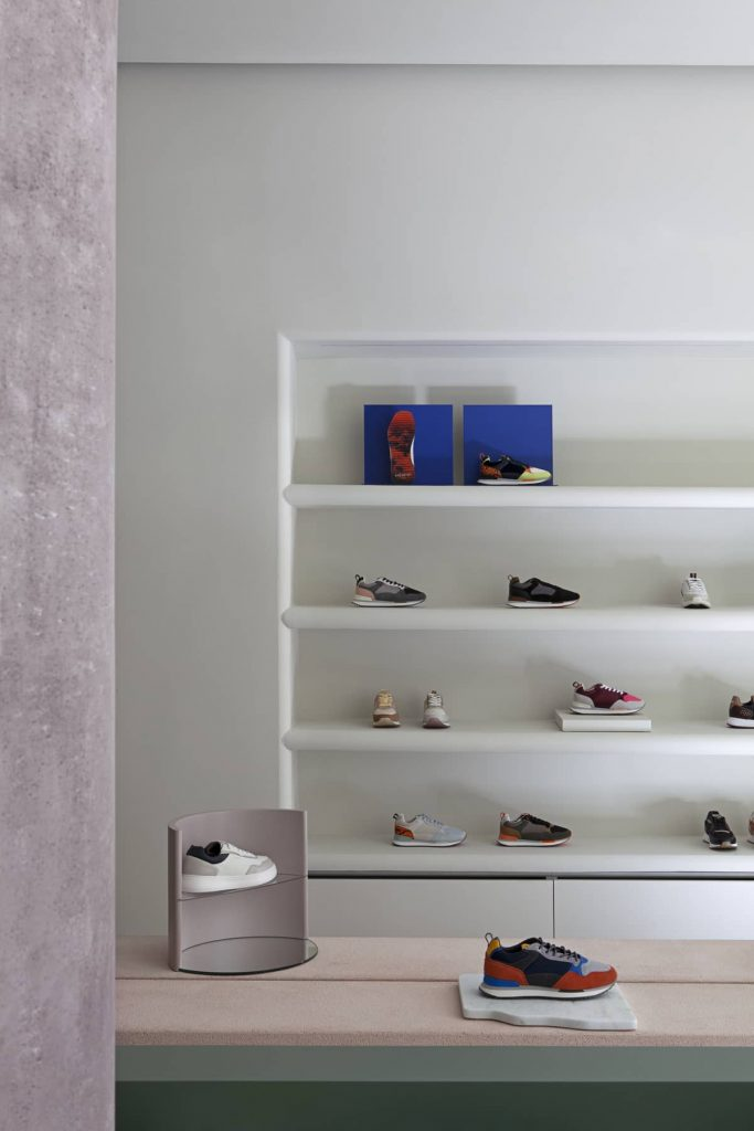 sneakers on brazilian pinta verde onix stone display platforms 683x1024 Retail Design Concept Unveiled In a New Sneaker Store