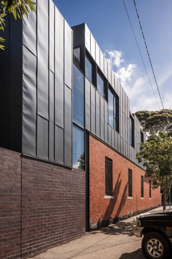 brick plinth and addition 682x1024 A Zinc Clad Addition by Robert Simeoni Architects