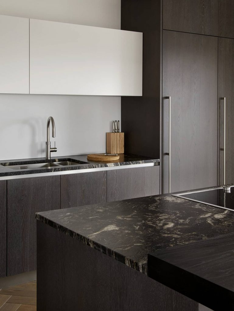dark oak cabinets and granite worktop 769x1024 An Airy Living Space in London by Patalab Architecture