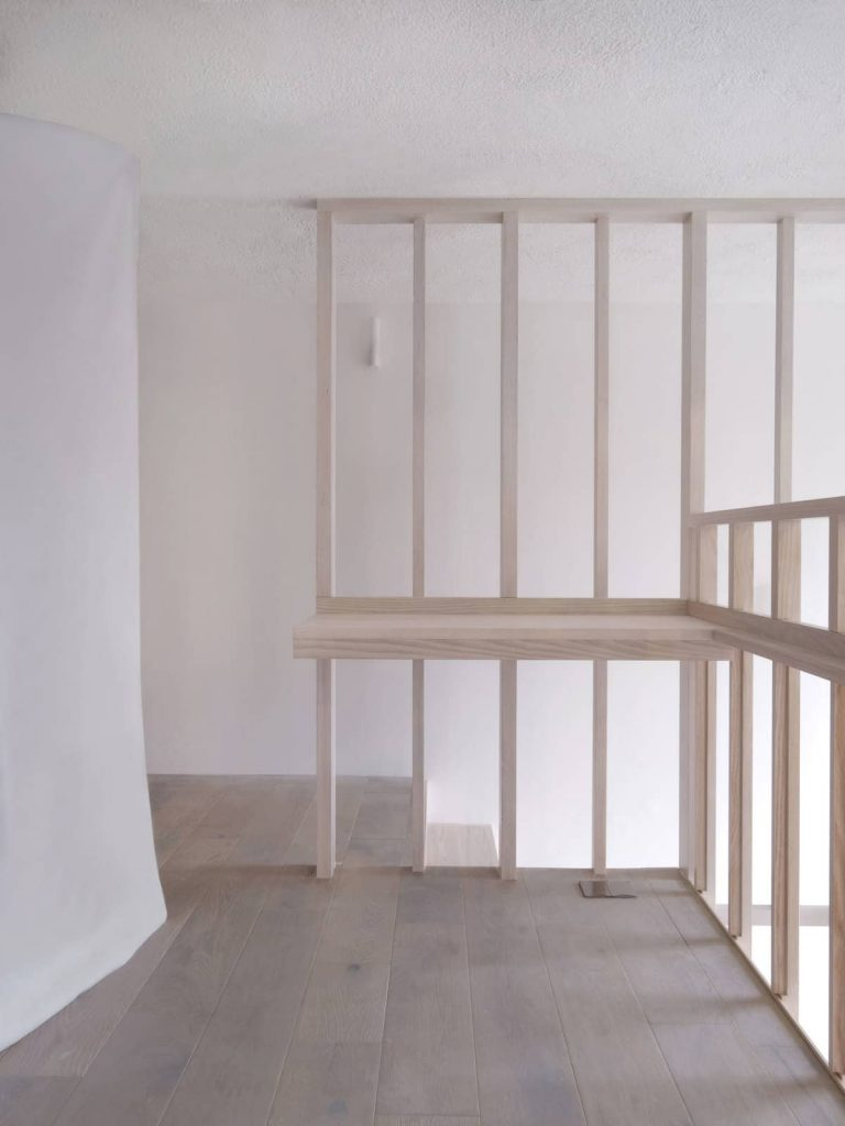 desk and mezzanine support framework 768x1024 A Converted Matchstick Factory Becomes a Beautiful Apartment