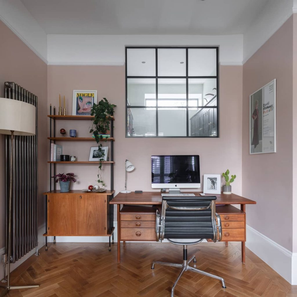 home office with an internal window 1024x1024 A Meticulous Restoration of the Original Victorian Terrace House