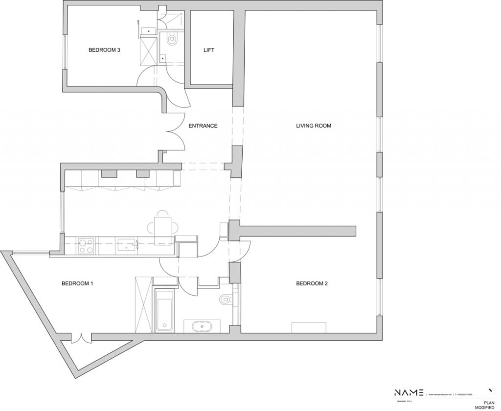 reconfigured plan 1024x841 A Two Bedroom Flat Was Reconfigured Into a Modern Apartment