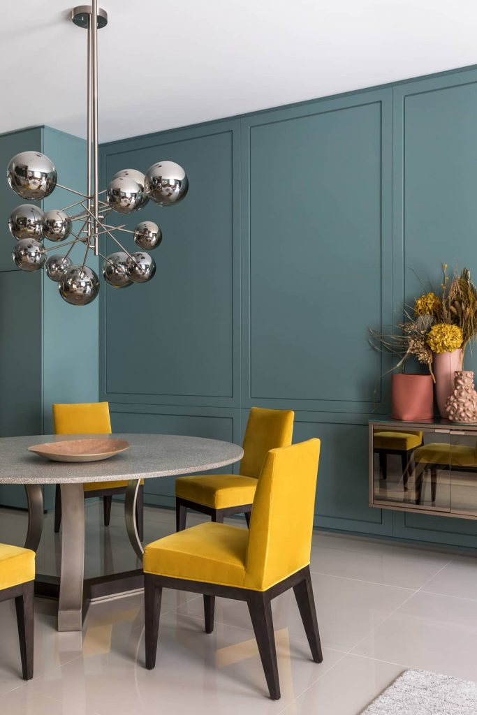 yellow chairs 683x1024 Colorful Apartment Interior by TN Architecture