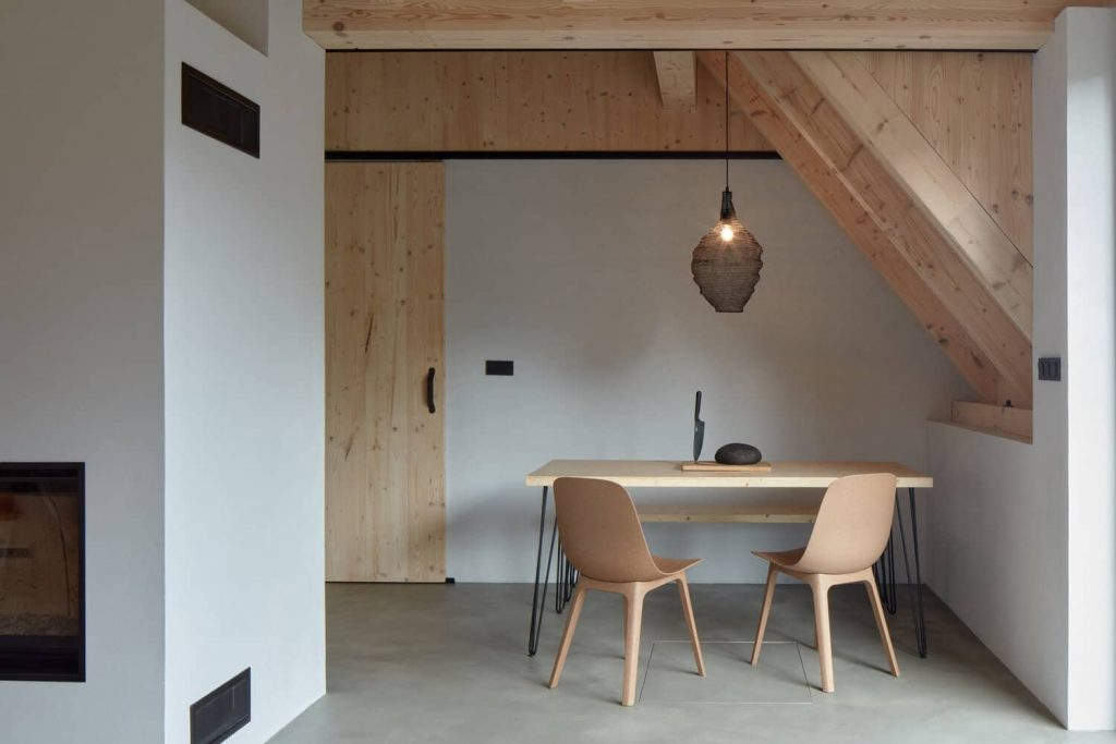 dining table 1 1024x683 A Cozy Cottage in the Woods by MjöLK Architects
