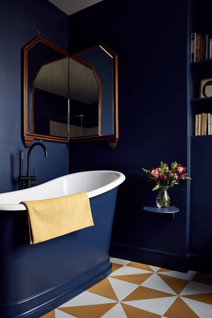 blue bathroom 683x1024 Loft Conversion and Roof Extension by Mitchell + Corti Architects