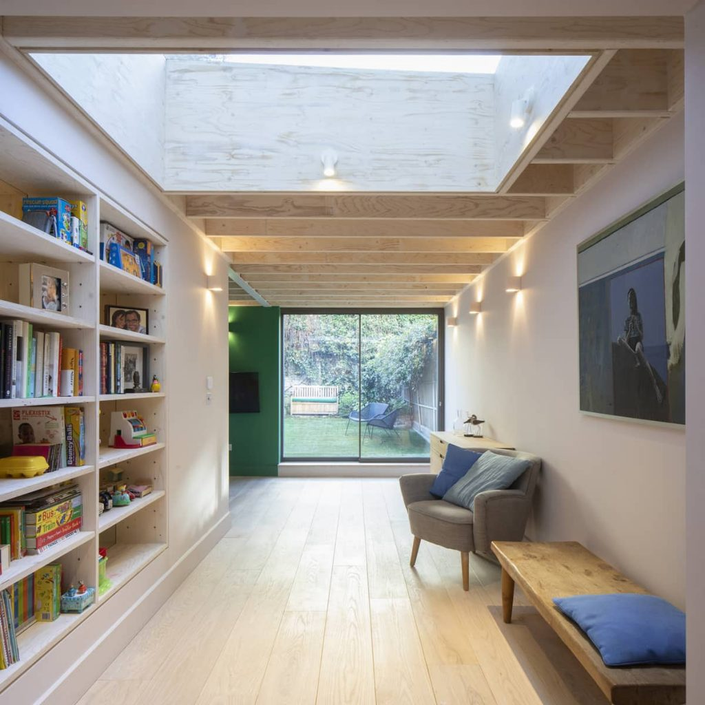 living area and library 1024x1024 Extension of a Victorian House in London by Sam Tisdall Architects
