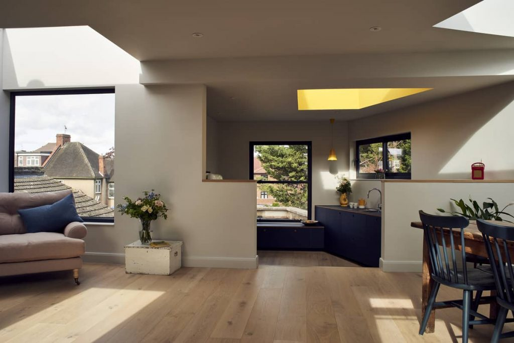 open plan living and kitchen space 1024x684 Loft Conversion and Roof Extension by Mitchell + Corti Architects