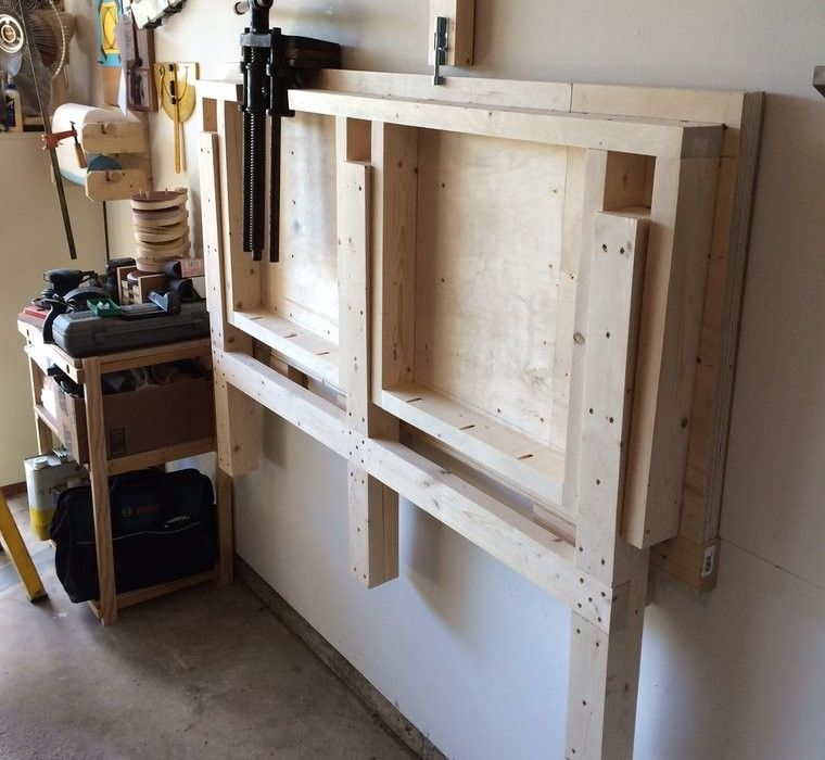 shed storage idea fold down workbench Shed Storage Ideas: 7 Tips on How to Get the Most Out of Your Shed