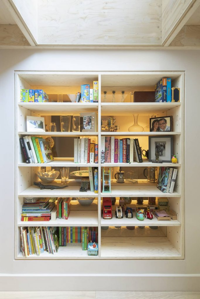 shelving 683x1024 Extension of a Victorian House in London by Sam Tisdall Architects