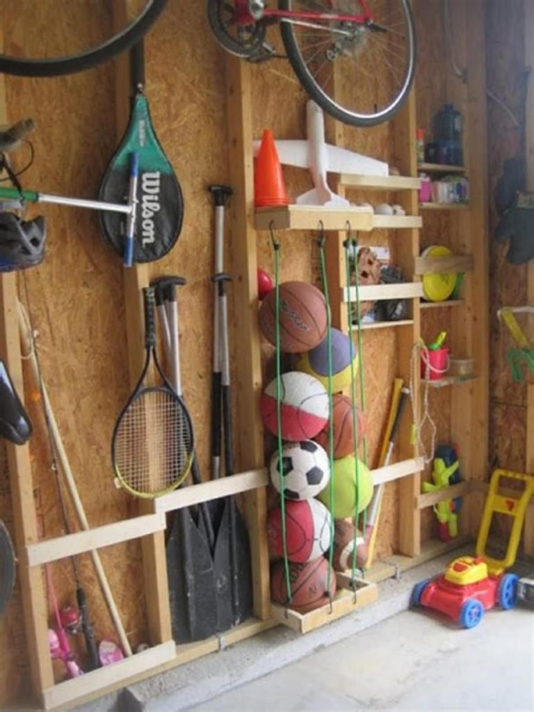 sports equipment shed storage idea 768x1024 Shed Storage Ideas: 7 Tips on How to Get the Most Out of Your Shed