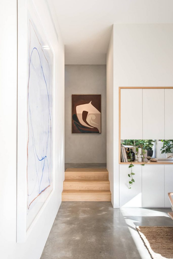 view to the kitchen and stairs 684x1024 Sunshine Beach House by Teeland Architects