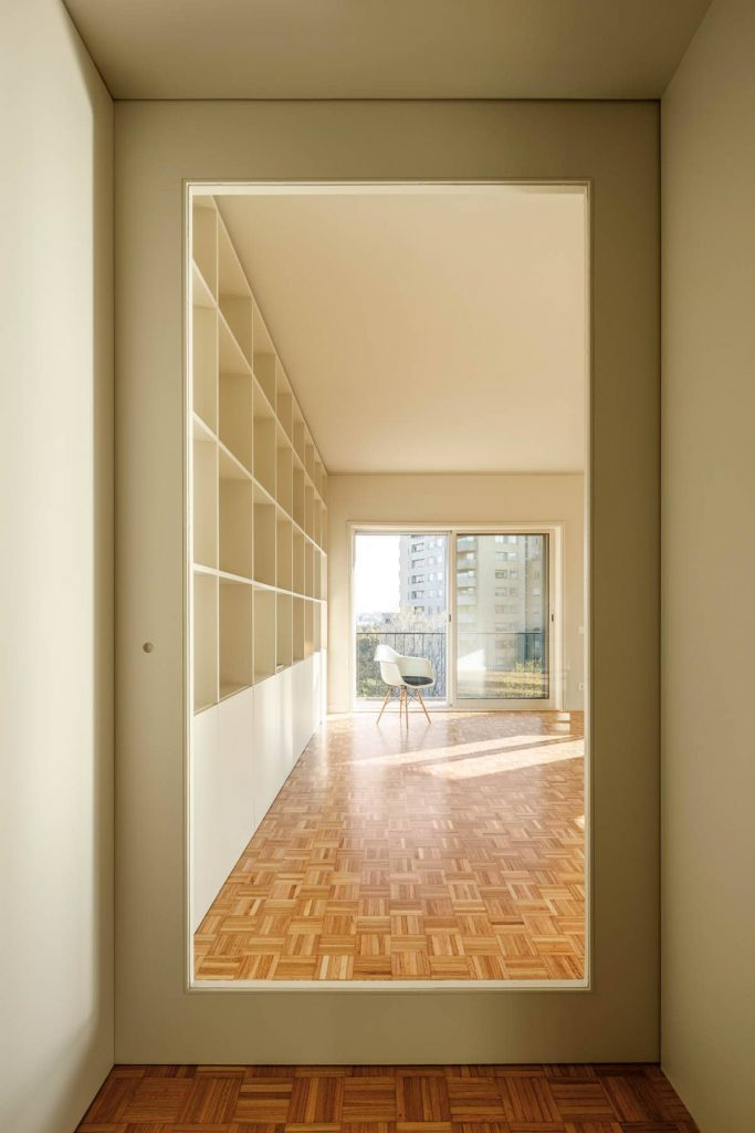 view to the living room 683x1024 Subtle Apartment Renovation by Costa Lima Arquitectos