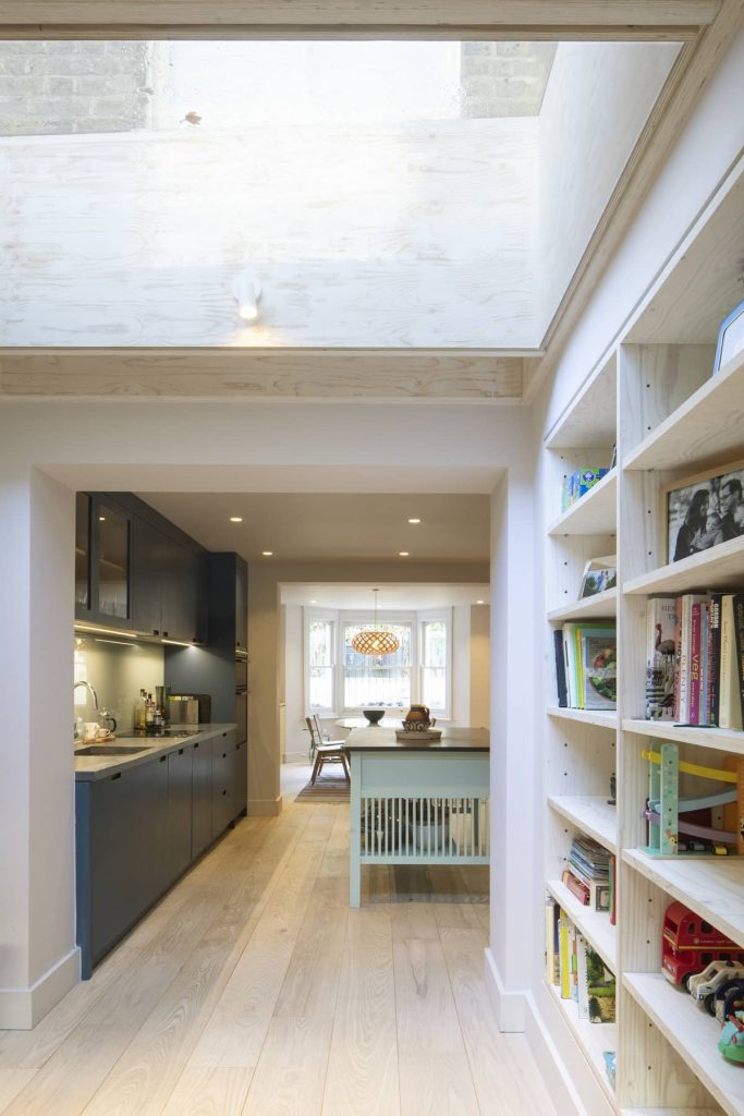 view towards kitchen 683x1024 Extension of a Victorian House in London by Sam Tisdall Architects