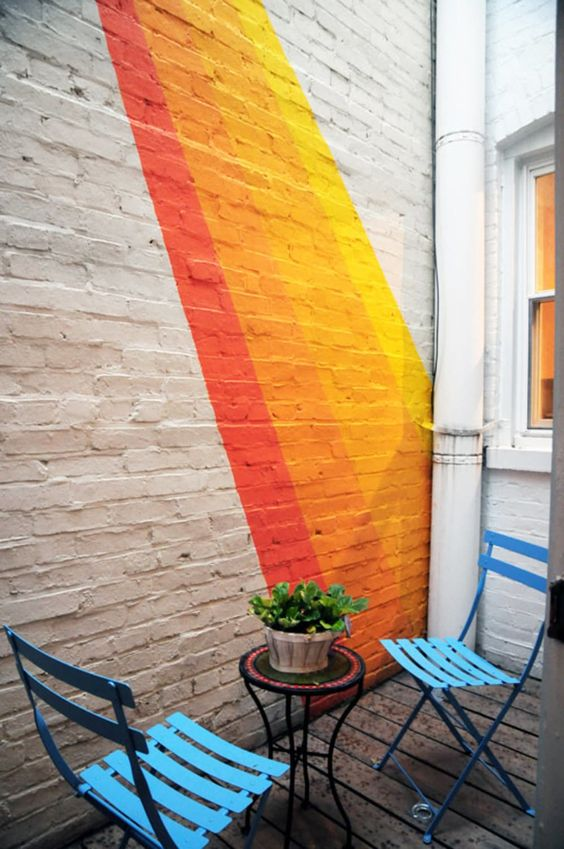 70s supergraphics decor 14 Patio Wall Ideas That Will Make Your Outdoor Space More Attractive