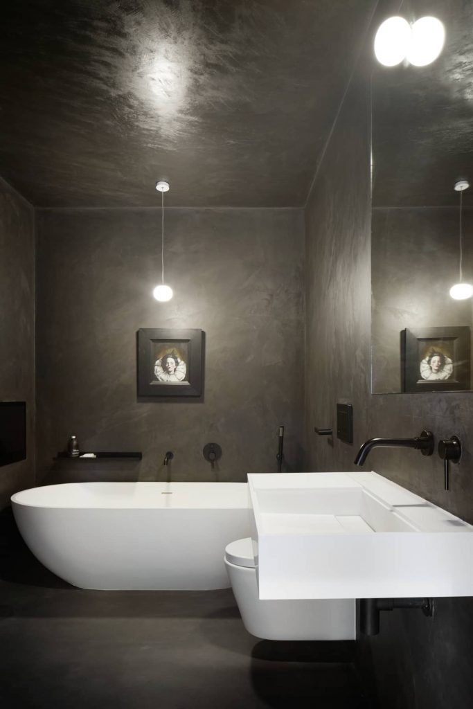 black bathroom 683x1024 ER Residence by McGinlay Bell Architects