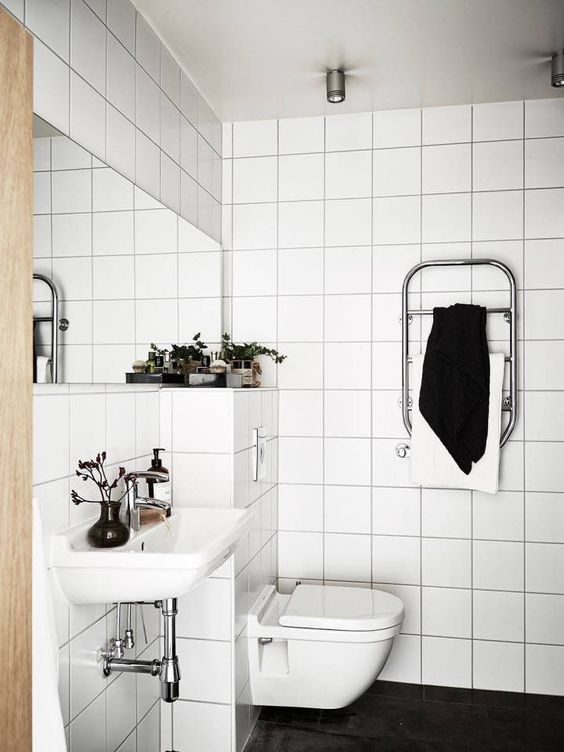 chrome towel dryer 16 Small Bathroom Remodel Ideas That Will Help You to Save Space
