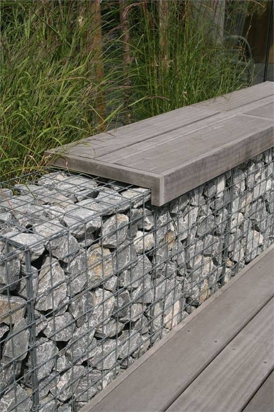 gabion wall 14 Patio Wall Ideas That Will Make Your Outdoor Space More Attractive