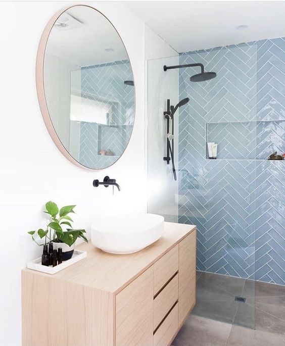 highlighted shower wall tile pattern 16 Small Bathroom Remodel Ideas That Will Help You to Save Space