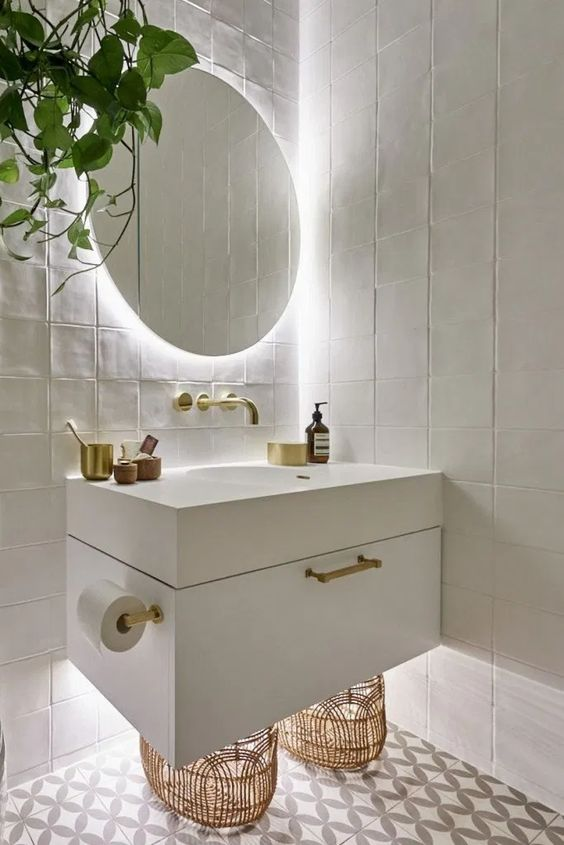 small bathroom remodel ideas led lighting under the cabinet 16 Small Bathroom Remodel Ideas That Will Help You to Save Space