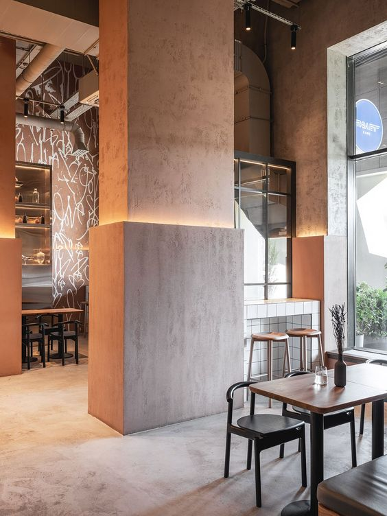 column as decor element 9 Small Restaurant Design Ideas for Your First Business
