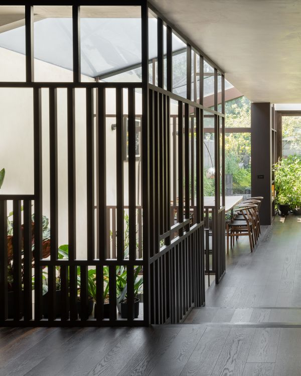slatted box Unagru Architects Transformed a Traditional Terrace Into a Bright Home