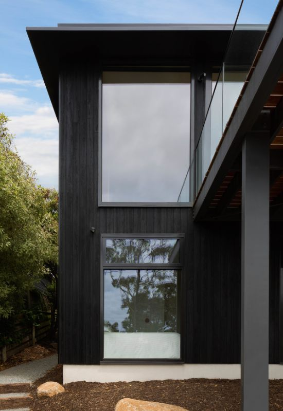 charred timber cladding The Beach House by Corke Design Studio