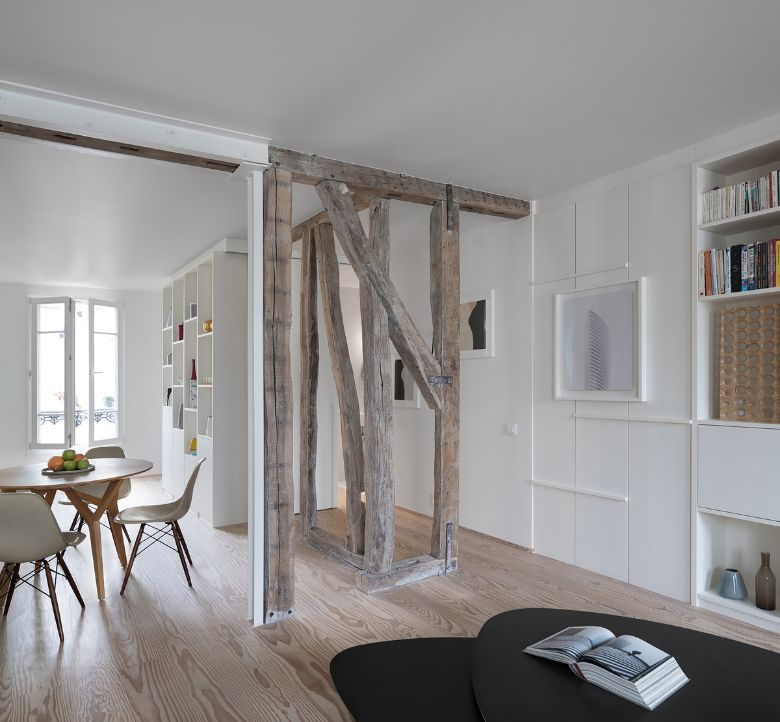 dining area Name Architecture Refurbished Two Parisian Apartments to Create a Unique Family Dwelling