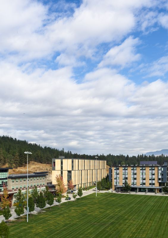 looking north over the commons field UBCO Skeena Residence by PUBLIC Architecture Studio