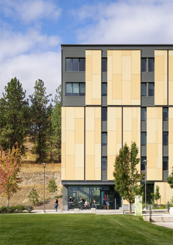 the southeast entrance and social space UBCO Skeena Residence by PUBLIC Architecture Studio