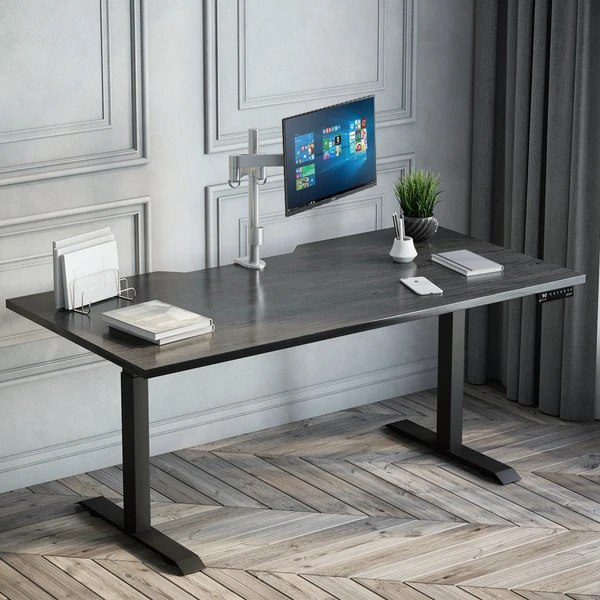 sit stand desk burnished wood 4 Tips For Choosing A Home Office Table