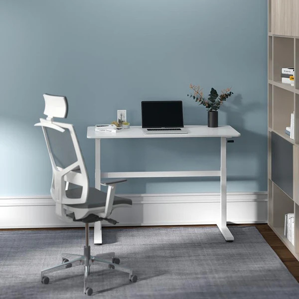 white sit stand desk 4 Tips For Choosing A Home Office Table