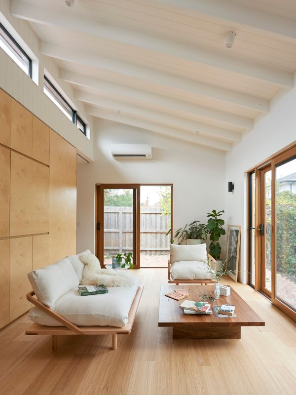 a view to the living room A Backyard Studio by Drawing Room Architecture
