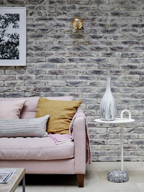 whitewashed exposed brick wall Renovation of a Stunning 1930s Detached Home by Yoko Kloeden Design